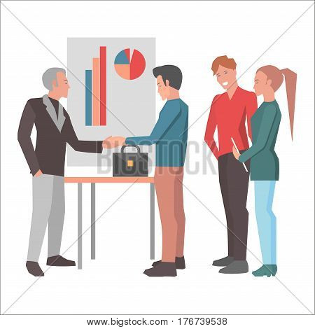 Deal after successful report flat design on white background. Young manager near poster with charts shakes hands gray-haired man. Vector illustration of startup webpage art design cartoon style