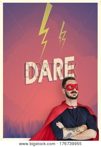 People with superhero costume and motivation word graphic