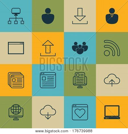 Set Of 16 World Wide Web Icons. Includes Followed Website, Local Connection, Team And Other Symbols. Beautiful Design Elements.