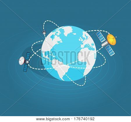 Two artificial earth satellites around planet on blue background. Vector illustration of satellites surrounding the planet Earth. Web banner of artificial sputnik in space cartoon style flat design.