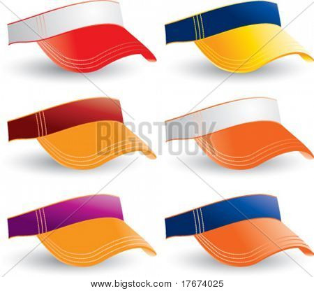 multiple colored collegiate visors