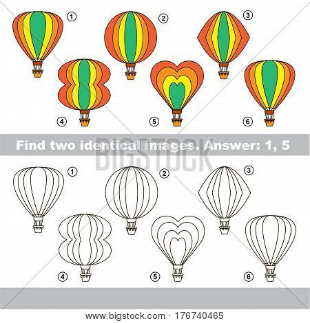 Educational kid matching game to find design difference, the task is to find similar machine. The educational game for kids with easy game level. Compare objects and find two same Balloons.