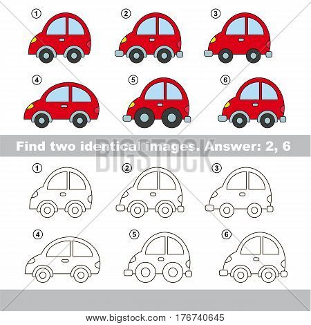 Educational kid matching game to find design difference, the task is to find similar machine. The educational game for kids with easy game level. Compare objects and find two same Cars.
