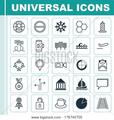 Set Of 25 Universal Editable Icons. Can Be Used For Web, Mobile And App Design. Includes Elements Such As Discussion, Marker, Airliner Takeoff And More.
