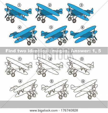 Educational kid matching game to find design difference, the task is to find similar machine. The educational game for kids with easy game level. Compare objects and find two same Biplanes.