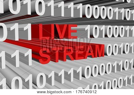 LIVE STREAM presented in the form of binary code 3d illustration