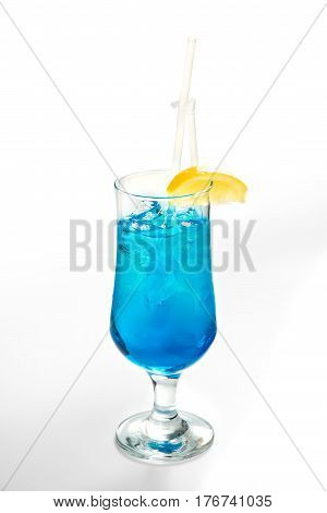Alcoholic Cocktails And Soft Drinks On A White Background
