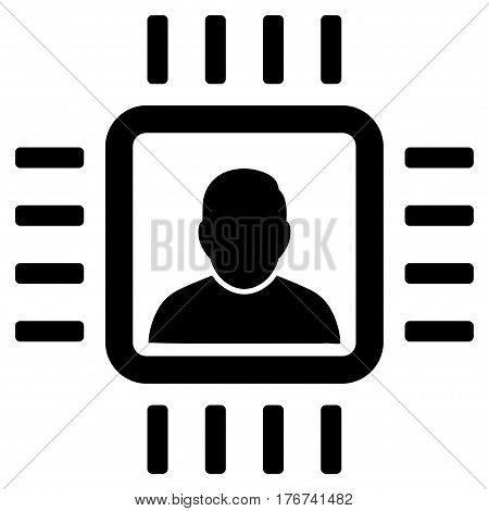 Neuro Processor vector icon. Flat black symbol. Pictogram is isolated on a white background. Designed for web and software interfaces.