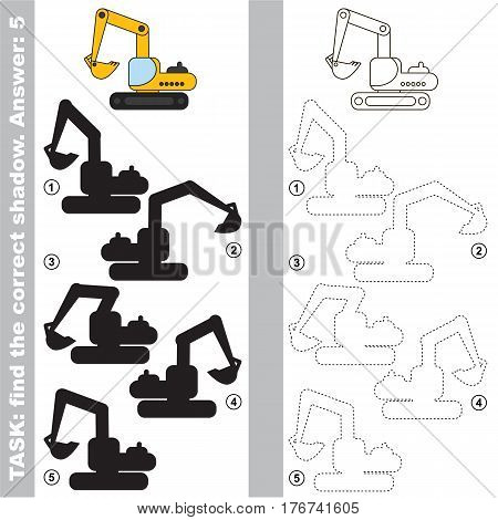 Excavator with different shadows to find the correct one, you need compare and connect object with it true shadow, this is the educational kid game with easy game level. Visual game for preschool children.