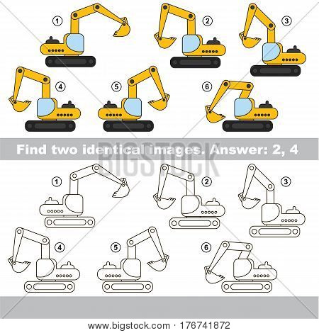 Educational kid matching game to find design difference, the task is to find similar machine. The educational game for kids with easy game level. Compare objects and find two same Excavators.