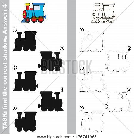 Locomotive with different shadows to find the correct one, you need compare and connect object with it true shadow, this is the educational kid game with easy game level. Visual game for preschool children.