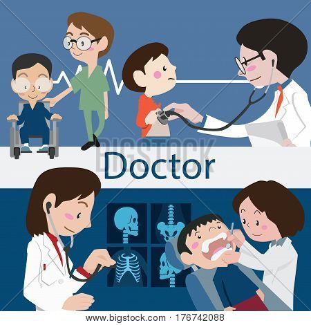Doctors and staff illustration vector character cartoon