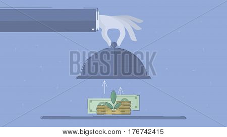 Growing investment.  Concept business vector for investing into ideas, creative innovative work, growing business. Flat illustration with thin broken line.