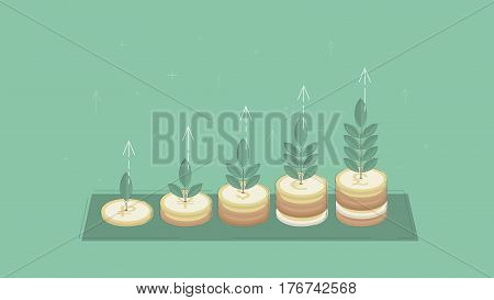 Growing investment. Money tree. Concept business vector for investing into ideas, creative innovative work, growing business. Flat illustration with thin broken line.