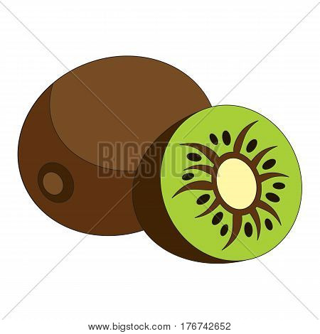 The kiwifruit cartoon. Outlined character with black stroke.