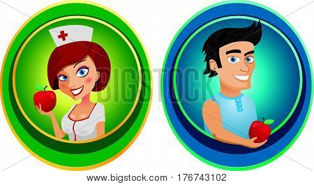 Funny nurse and smiling man on white background
