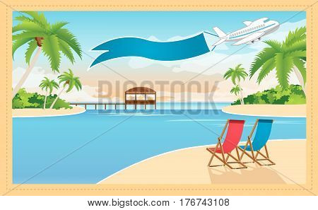 Beautiful resort on the tropical island and plane