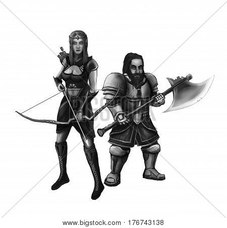 Elf girl and the little dwarf warrior preparing for battle against evil