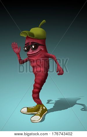 Cheerful character. Funny chili pepper in sneakers and sunglasses