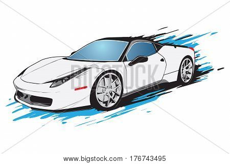 White sport car is moving at high speed