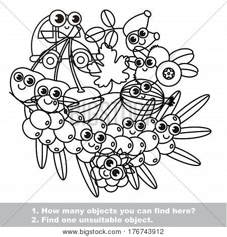 Set of funny berries, mishmash set in vector outlined to be colored. Find all hidden objects on the picture. Easy educational kid game. Simple level of difficulty. Visual game for children.