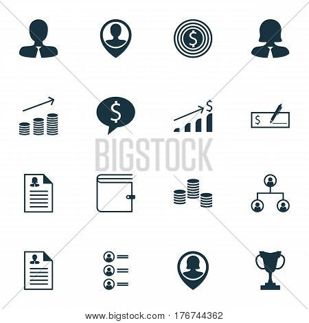 Set Of 16 Hr Icons. Includes Business Deal, Money, Wallet And Other Symbols. Beautiful Design Elements.