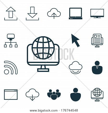 Set Of 16 Online Connection Icons. Includes Data Synchronize, Human, Team And Other Symbols. Beautiful Design Elements.