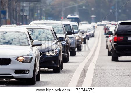 Zoom view of the congested road full of cars
