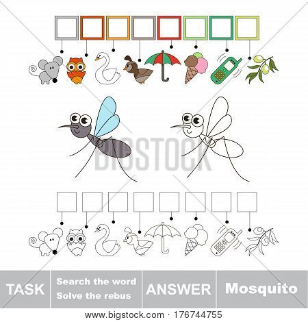 Vector rebus game for children. Easy educational kid game. Simple game level. Find solution and write the hidden word Mosquito