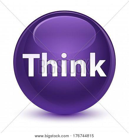 Think Glassy Purple Round Button