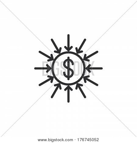 Capital inflow line icon outline vector sign linear pictogram isolated on white. Symbol logo illustration