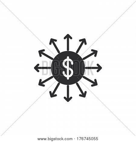 Capital outflow icon vector filled flat sign solid pictogram isolated on white. Symbol logo illustration