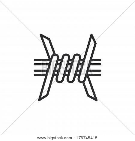 Barbed Wire line icon outline vector sign linear pictogram isolated on white. Symbol logo illustration