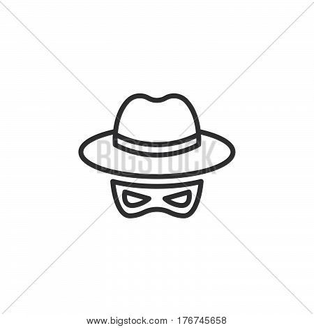 Spy line icon outline vector sign linear pictogram isolated on white. Spyware symbol logo illustration