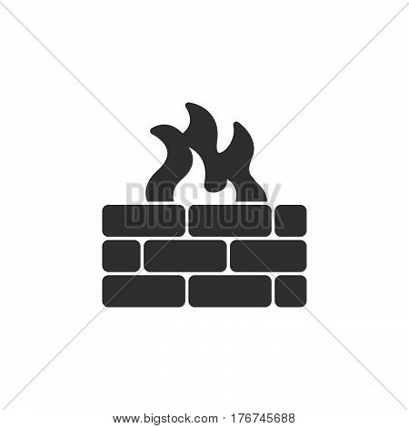 Brick wall and fire icon vector filled flat sign solid pictogram isolated on white. Firewall symbol logo illustration