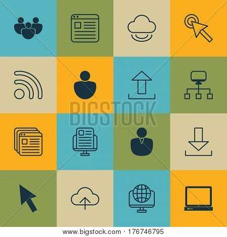 Set Of 16 World Wide Web Icons. Includes Website Bookmarks, Human, Cursor Tap And Other Symbols. Beautiful Design Elements.