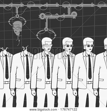 Vector Illustration of the Production of Human Clones