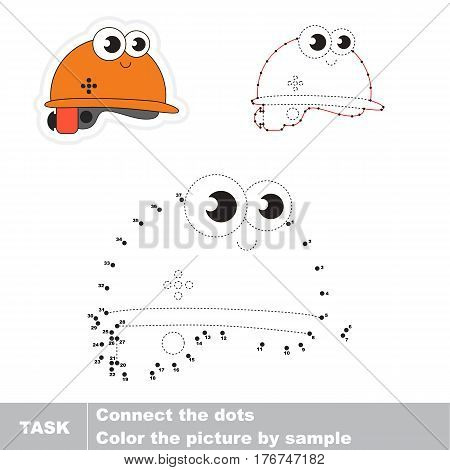 Helmet, hard hat in vector to be traced by numbers, easy educational kid game.