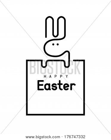 Easter bunny. Single line vector. Eps8 RGB