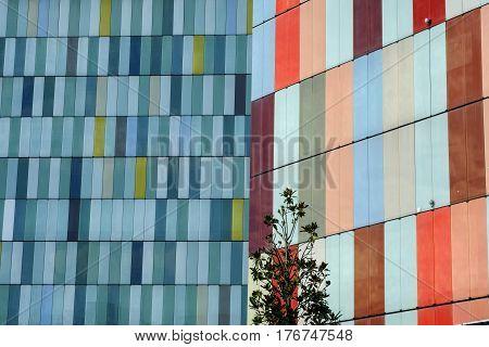 MILAN, ITALY - NOVEMBER 27, 2016: Milan (Lombardy Italy): modern colorful office buildings along via Roberto Bracco