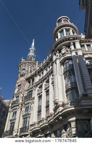 Madrid (Spain): historic building near Plaza Mayor