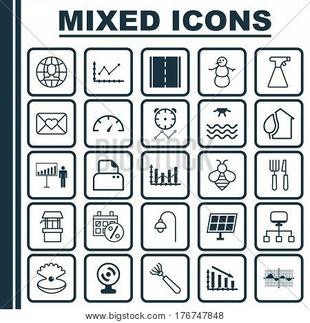 Set Of 25 Universal Editable Icons. Can Be Used For Web, Mobile And App Design. Includes Elements Such As Harrow, Sunrise, Project Presentation And More.