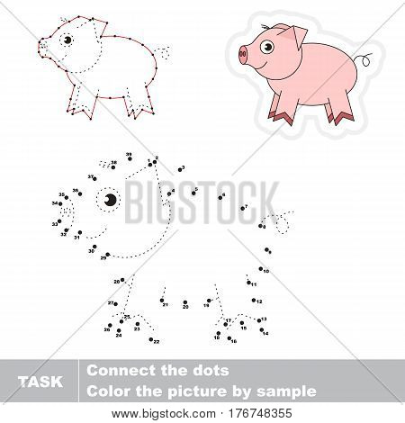 Pink pig in vector to be traced by numbers, the easy educational kid game with simple game level, the education and gaming for kids, visual game for children.