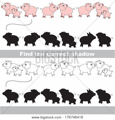 Piggy set with shadows to find the correct one. Game to compare and connect objects and their true shadows.