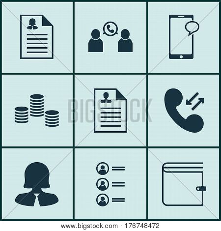 Set Of 9 Hr Icons. Includes Job Applicants, Phone Conference, Business Woman And Other Symbols. Beautiful Design Elements.