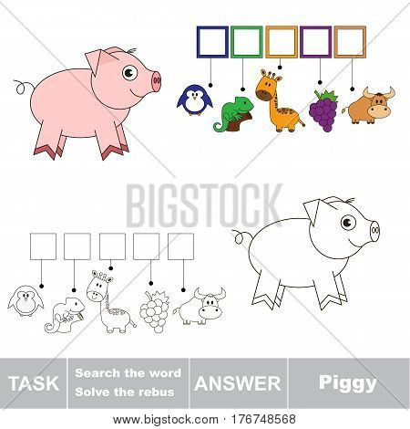 Vector rebus game for preschool kids with easy educational game level for kid education during gaming, find solution and write the hidden word in grid cells - Piggy.