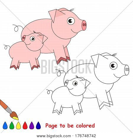 Pi and her baby to be colored, the coloring book to educate preschool kids with easy kid educational gaming and primary education of simple game level.