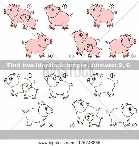 Pink piggies to be colored, the coloring book to educate preschool kids with easy kid educational gaming and primary education of simple game level.