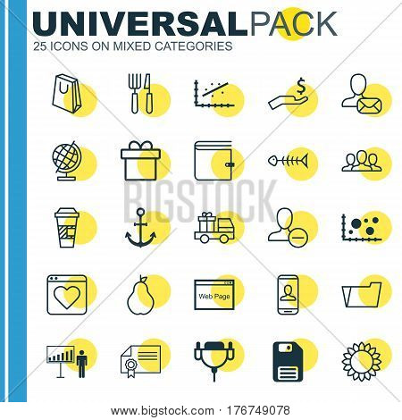 Set Of 25 Universal Editable Icons. Can Be Used For Web, Mobile And App Design. Includes Elements Such As Vga Cord, Handbag, Present.