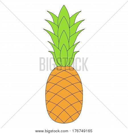 The pineapple cartoon. Outlined character with black stroke.